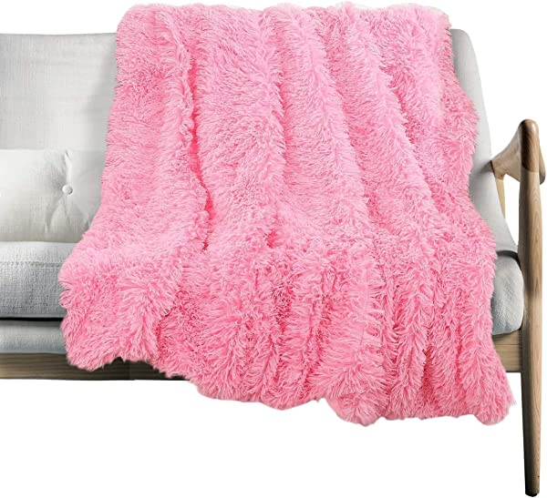 Shaggy Long Fur Throw Blanket Super Soft Faux Fur Lightweight Warm Cozy Plush Fluffy Decorative Blanket For Couch Bed Chair 63 X79 Pink