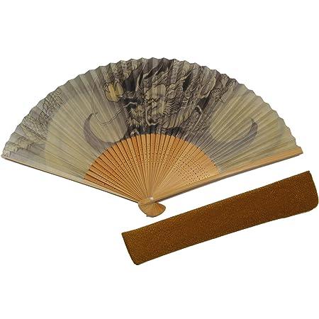 [ハセガワ] 紳士用 扇子 縁起物「龍」京都職人 仕立て 扇子袋付き 紙箱入り 竜