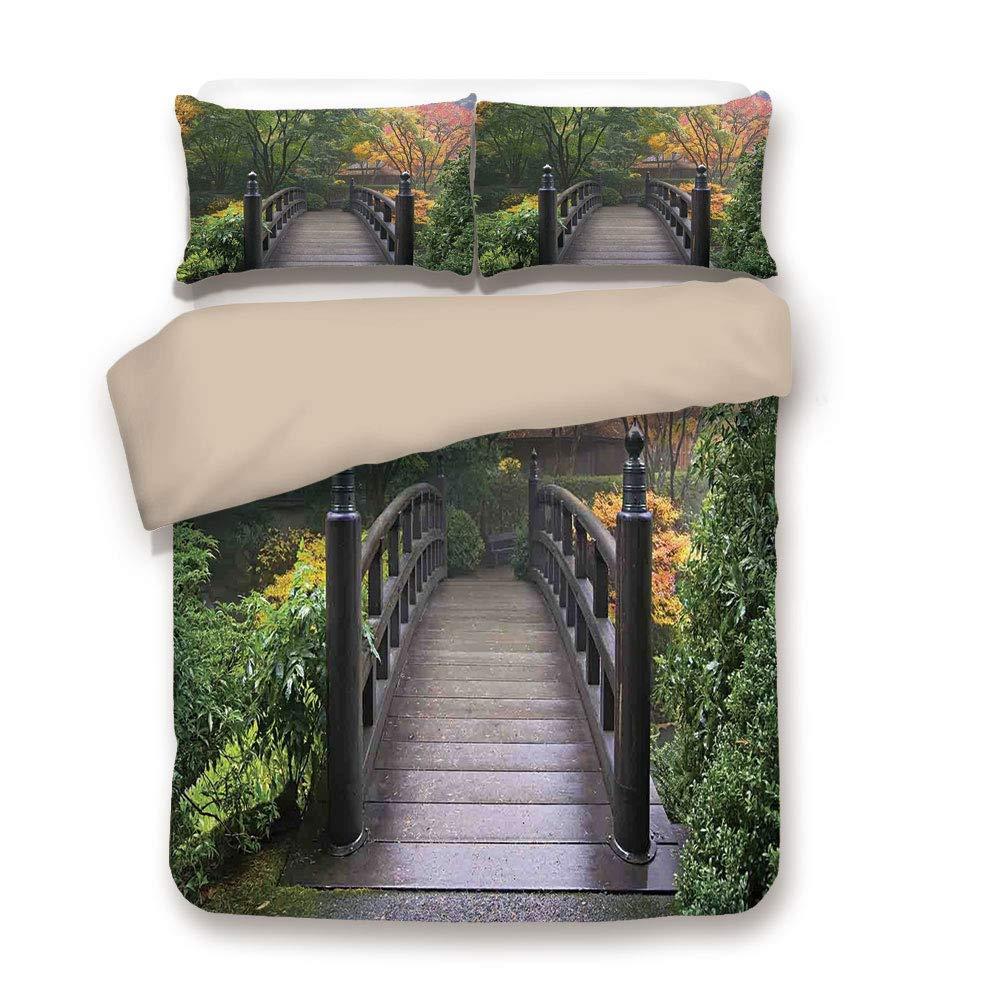 LnimioAOX Juego de Funda nórdica con Funda nórdica, Naturaleza, Puente de Madera en el jardín japonés de Portland, Oregon, Autumn Foggy Fall Park, Coral Verde, Ropa de Cama Decorativa con 3 Fundas: