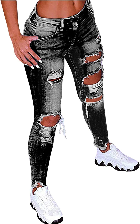 Women's Ripped Jeans Plus Size Mid-Rise Skinny Stretch Denim Capri Pants Classic Boyfriend Distressed Denim Pants