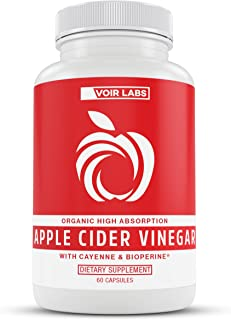 Voir Labs Premium Organic Apple Cider Vinegar Pills - High Absorption Detox, Cleanse and Weight Loss Supplement with Cayenne & BioPerine - Natural Non-GMO Cider Capsules