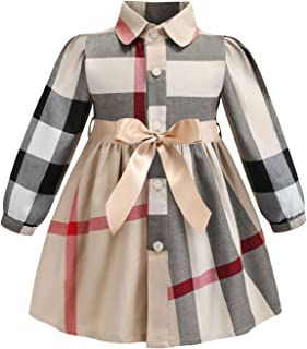 ZANDZ Little Girls Cotton Sleeveless Button Pocket Plaid Casual Summer Dress(A-Beige,3T-4T)