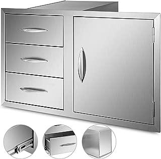 Mophorn Outdoor Kitchen Door Drawer Combo 38 Inch Stainless Steel Access Door and Triple Drawer Combo 38x22.6x20.8 Inch for Outdoor Kitchen