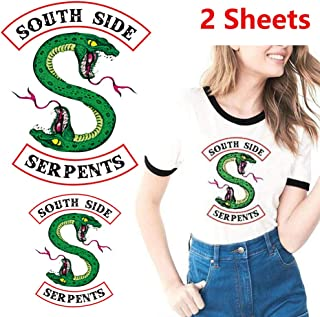 Riverdale Southside Serpents Iron on Patches Appliques Heat Transfer Stickers for Women Men Kids Jacket Shirts Clothing DIY Decoration A-Level Washable Stickers (2 Sheets)