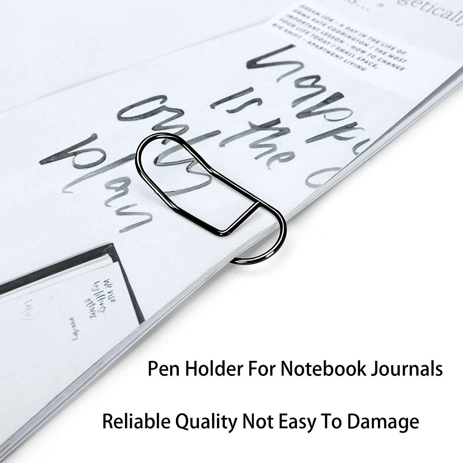 MXRS Pen Clips Black,Stainless Steel Pencil Holder for Notebook,Journals,Paper,Clipboard,Pictures-Fits Almost Any Pen Size 10 Pack
