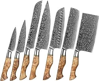 1-7PC Cuisson Couteau Set Professionnel Damascus Chef Steel Pain PARING PARING SANTOKU SHARP COUTEAU COUTEAU COUTEAU COUTE...