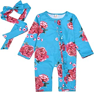 0-3 Months Baby Girl Boy Clothes,Infant Baby Girls Floral Flowers Jumpsuit Romper Hairband Casual Clothes