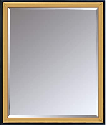 "La Pastiche Piccino Luminoso Wrap Custom Stacked Mirror, 27.75"" x 23.75"", Black, Gold"