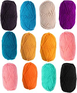 Exceart 12Pcs Milk Cotton Yarn Chunky Knitting Yarn Hand-woven Crochet Thread diy Crafts for Sweater Shawl Scarf 12 Colors