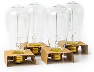 Edison Bulb Pack of 4 by Brillante - 360 Lumen / 60W Clear Glass Light Bulbs with Antique/Vintage Thomas Edison Style Filament - for Pendant Lighting, Lamps & String Lights