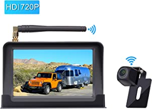 Amtifo HD Digital Wireless Backup Camera System with 5'' Monitor for Cars,Pickups,Trucks,Small RVs,Campers,Rear/Front View Camera,Guide Lines On/Off,IP69 Waterproof
