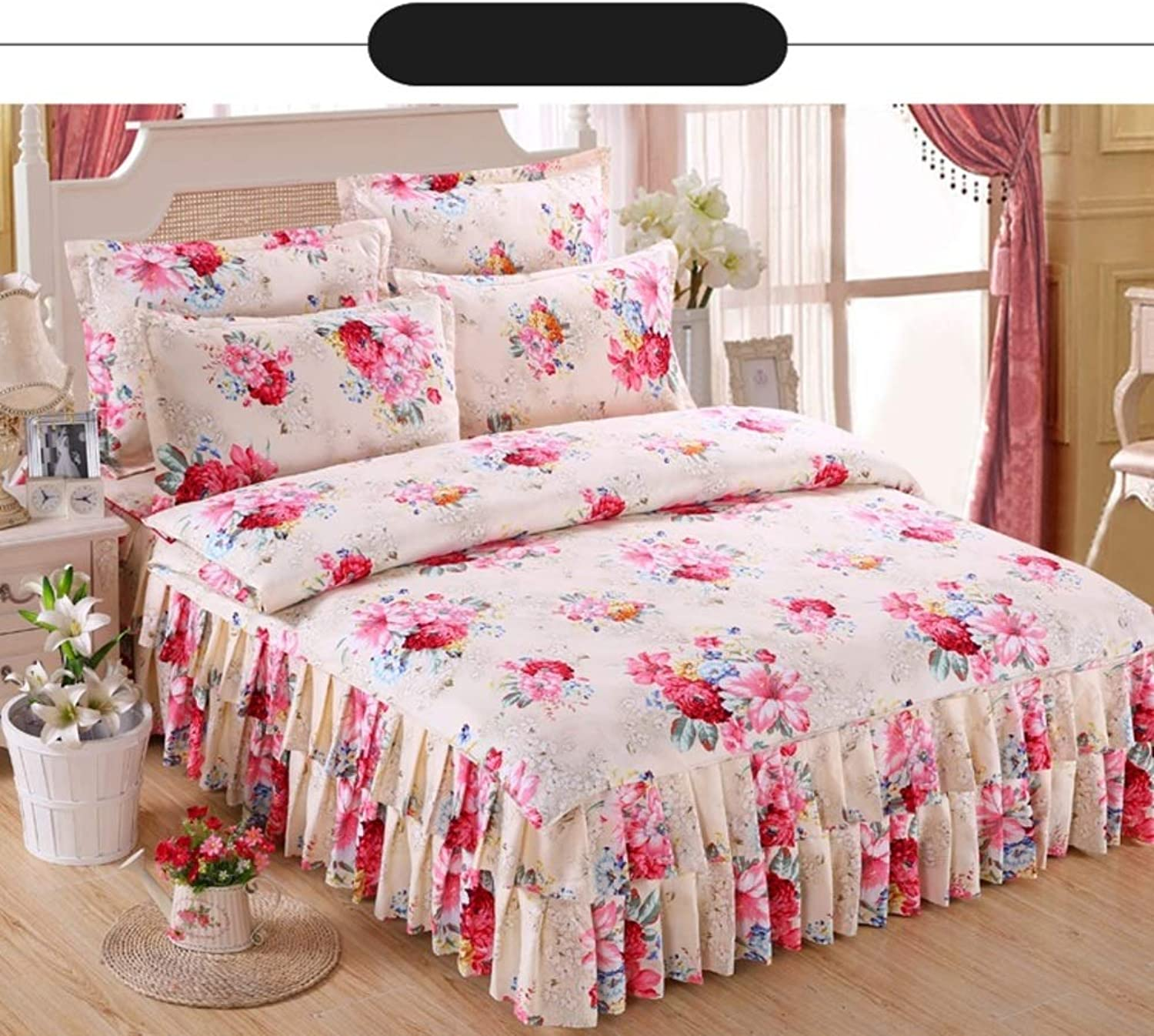 Cotton Sanding Bed Skirt,Wedding Four-Piece Thicked Quilt Cover 1.8x2.0m2x2.2 Meters Bed Cover Type Big Red Eco-Friendly Pleated Bed Skirt-H 180x200cm(71x79inch)
