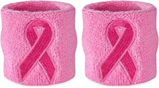Pink Ribbon Wristbands - Bulk Breast Cancer Awareness Sweatbands (24-Pack)