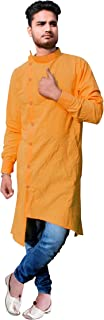 Lakkar Haveli Gold Color Men's Cotton Kurta Trail Cut Shirt Casual Tunic Plus Size