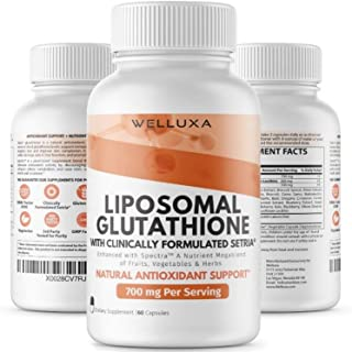Liposomal Glutathione Setria® (700 mg) - Pure Reduced Glutathione Capsules for Skin Whitening Antioxidant Support Liver De...