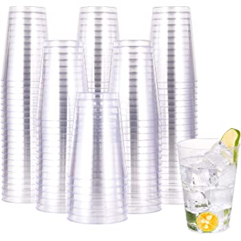 12 OZ Clear Plastic Cups , 100 Pack Heavy-duty Party Glasses, Disposable Plastic Cups for Wedding, Halloween,Thanksgiving Day, Christmas Party Cocktails Tumblers