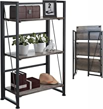 4NM No-Assembly Folding-Bookshelf Storage Shelves 3 Tiers Vintage Bookcase Standing Racks Study Organizer Home Office 23.62 x 11.61 x 37.6 Inches