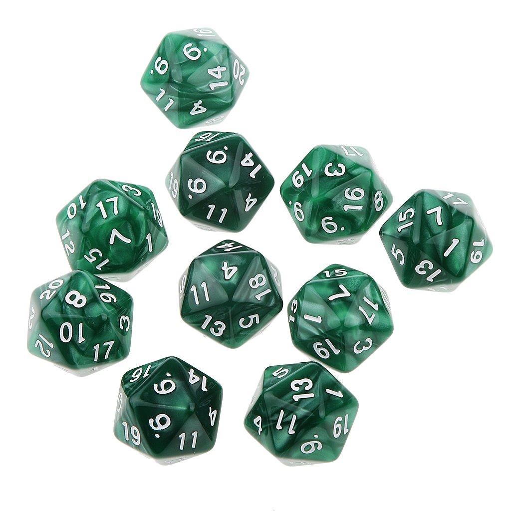 10pcs Juegos de Mesa Dados de Veinte Caras D & D TRPG Padrón de Perla - Verde: Amazon.es: Juguetes y juegos