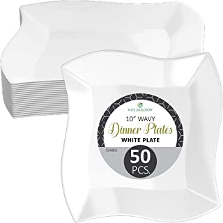 """Disposable Plastic Salad Plates - 50 Pack High Quality 10"""" White Wavy Design Dessert for Wedding, Birthday, Dinner Party - Ecofriendly Kitchen Dinnerware Supplies - by Elite Selection"""