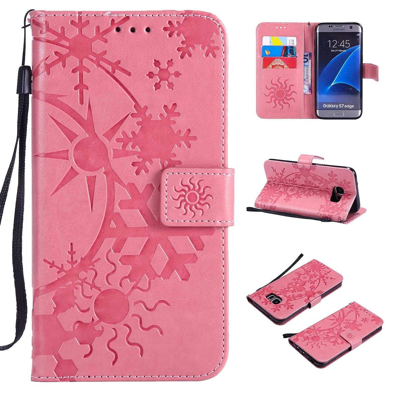 嵐の移動ジョガーGalaxy S7 Edge ケース CUSKING 手帳型 ケース ストラップ付き かわいい 財布 カバー カードポケット付き Samsung ギャラクシー S7 Edge マジックアレイ ケース - ピンク