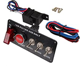 CT-CARID 12V Carbon Fiber Racing Car Ignition Switch Panel 5 in 1 Engine Start Push Button Led Toggle Switch Panel