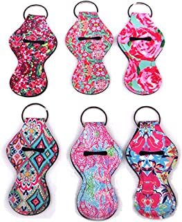 6 Pack Flower Style Handy Lip Balm Holder Chapstick Holder Tracker with Key Chains, Gift for Kids and Adult