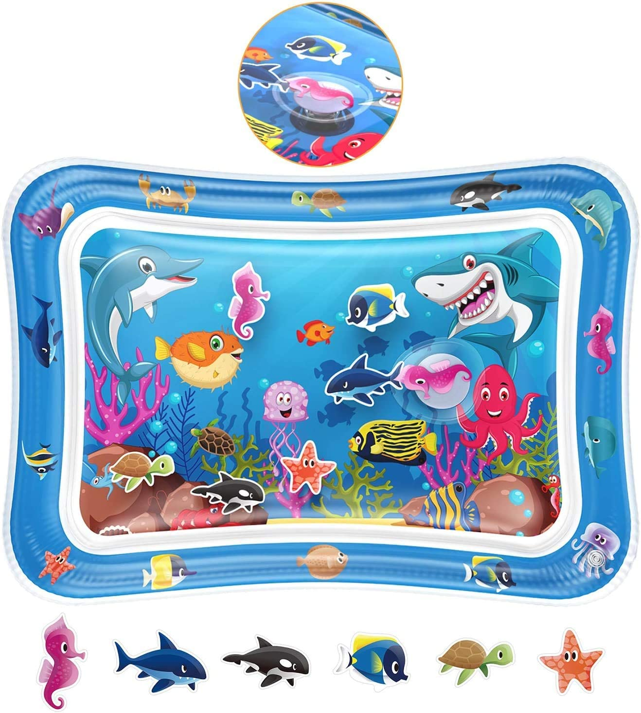 sdhjfsddf Tummy Time Baby Water Play Mat Toys for 3 6 9 Months for Infants Newborns and Toddlers Floor Activity Play Center, Play Water Mat Inflatable Play Activity Center for Babies and Toddlers
