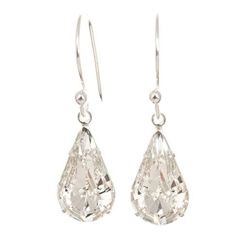 pewterhooter 925 Sterling Silver drop earrings made with teardrop Diamond  White crystal from SWAROVSKI® London fa2750965c