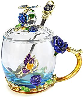 Beauty And Novelty Enamel Coffee Cup Mug Flower Tea Glass Cups for Hot and Cold Drinks Tea Cup Spoon Set Perfect Wedding Gift,Short Glass Cover,Australia