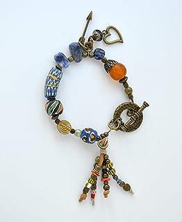 Bracciale sodalite stile Ibiza in blu con charms, gioielli bohémien, bracciale a tecnica mista con cuore e freccia