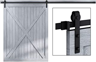 EaseLife 12 FT Heavy Duty Sliding Barn Door Hardware Track Kit,Ultra Hard Sturdy,Slide Smoothly Quietly,Easy Install,Fit up to 72