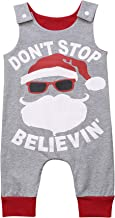 Urkutoba Unisex Baby Christmas Bodysuit Don't Stop Believing Words Print Santa Claus Pattern Sleeveless One Piece Xmas Romper