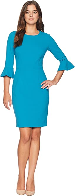 3/4 Sleeve Crepe Sheath Dress with Bell Sleeve