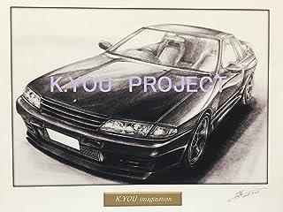 【 名車 ・ 旧車 イラスト 】日産 スカイライン R32 GT-R A4額縁・作者直筆サイン入り ノスタルジックカー 鉛筆画(原画コピー)