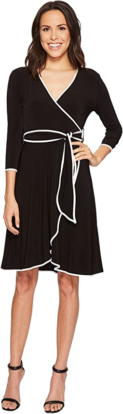 3/4 Sleeve Faux Wrap Self Tie Dress with Piping CD8A14HG