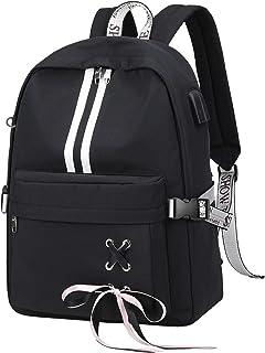 Fashion Travel Backpack with Cute Ribbon for Teen Girl Boy School Bookbag with USB Charging Port & Headphone Jack (Black)