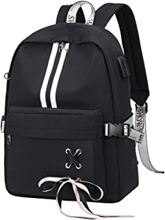 Fashion Travel Backpack with Cute Ribbon for Teen Girl Boy School Bookbag with USB Charging Port & Headphone Jack (Black)