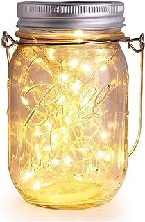 Herefun Lanterna Solare Esterna Mason Jar String Lights, Lampade Solari Barattolo di Vetro Illuminante Impermeabile Lampad...