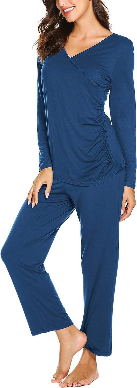 Ekouaer Women's Maternity Nursing Pajamas Set Soft Pregnancy Breastfeeding Pj Set(S-XXL)