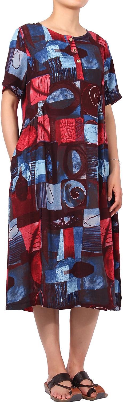CYSTYLE Women's Short Sleeve Graffiti Printed Shirt Dress with Pockets