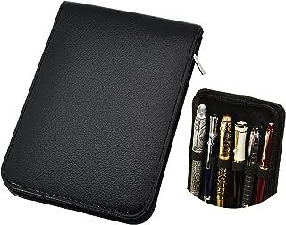 Voilamart Fountain Pen Case Roller Ball Pen Holder PU Leather Bag Pouch for 12 Pens - Black