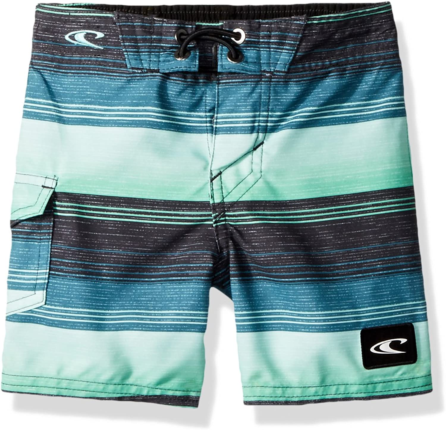 O'Neill Boys' Little Santa Cruz Print Boardshort, Stripe Turquoise, 2T