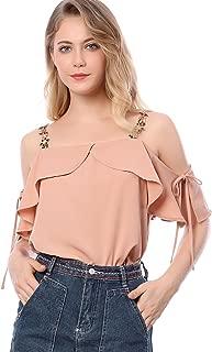 Allegra K Women's Floral Strap Off Shoulder Blouse Ruffle Top