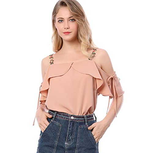 80f7447fc212be Allegra K Women s Floral Strap Off Shoulder Blouse Ruffle Top