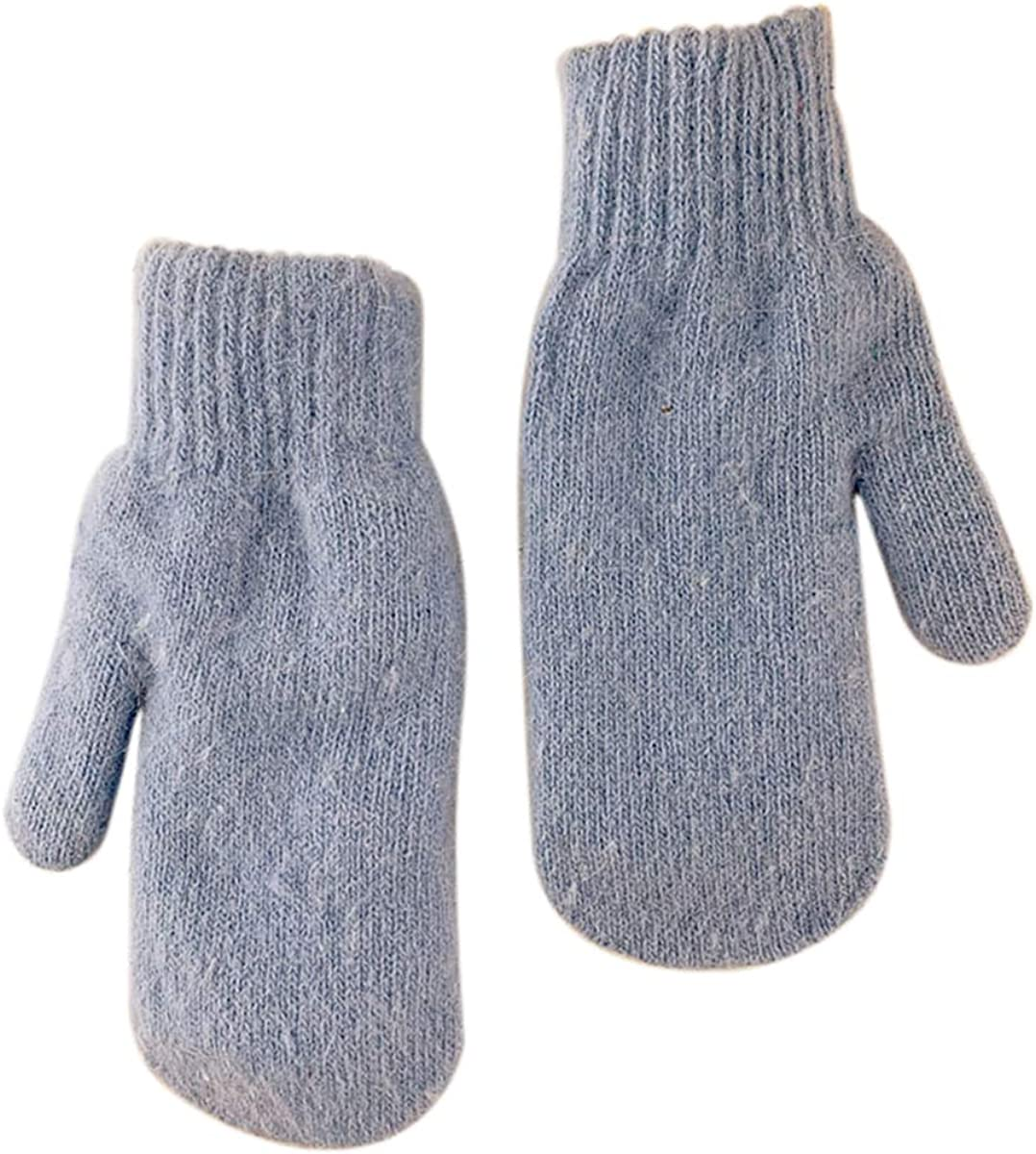 jweemax Winter Knitted Gloves, Double-layer rabbit hair gloves Stretch Mittens Warm Lined Soft Knit Gloves