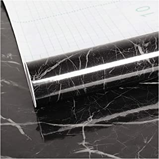 Large Size Marble Contact Paper Peel and Stick Wallpaper 15.74×354.33inches Removable Black Self Adhesive Film for Kitchen Backsplash Living Room Cabinet Locker Countertop Home Wall Decor