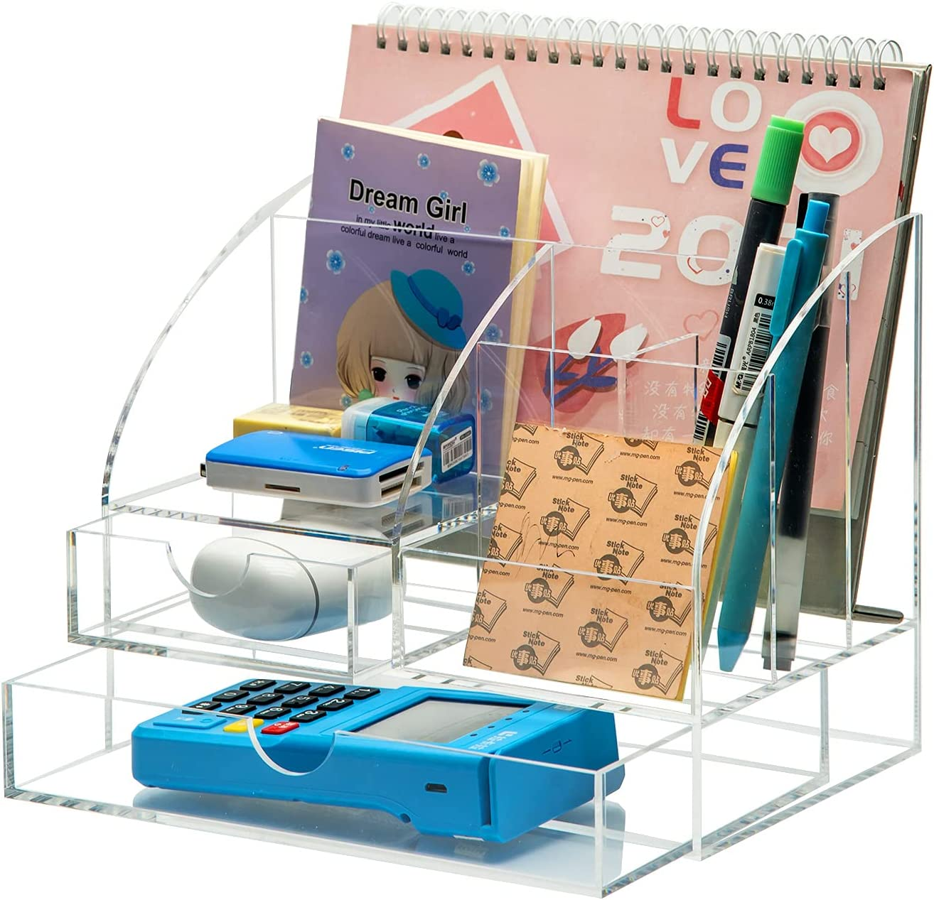 Gadexpha Acrylic Desk Ranking TOP11 Organizer With 2 Drawers Clear Outlet SALE Pen Holder