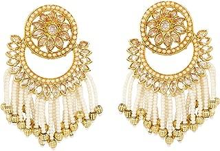 Ratna Beautiful Exclusive Pearl Line Ruby Stone Made Dangle Drop Chandbali Bridal Earrings Set Ethnic Indian Bollywood Jewelry
