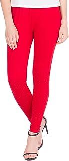 American-Elm Women's Cotton Viscose Ankle Length Legging- Red