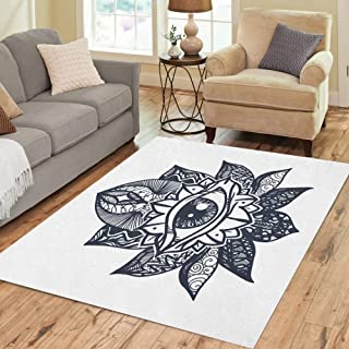 Semtomn Area Rug 5' X 7' Vintage All Seeing Eye in Mandala Lotus Providence Magic Home Decor Collection Floor Rugs Carpet for Living Room Bedroom Dining Room